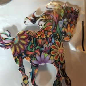 Laser cut, colorful, horse pin.